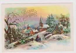 Carte  Bonne Année Personnages ,paysage ( Dorure) - Anno Nuovo