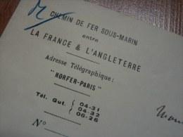 [TUNNEL SOUS LA MANCHE - (1920) ] Georges BERTIN [ ? -  ? ] Ingénieur. CHEMIN De FER SOUS MARIN France / Angleterre - Autographes