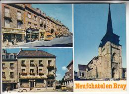 NEUFCHATEL EN BRAY 76 - La Place Notre Dame  Restaurant Au Lion D'Or L'Eglise - CPSM GF - Seine Maritime - Neufchâtel En Bray