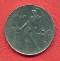 ZC333 /  - 50 LIRE - 1957 -  Italia Italy Italie Italien Italie -  Coins Munzen Monnaies Monete - 1946-… : Republic