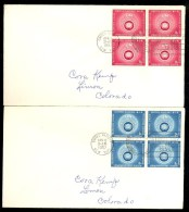 2 X FDC UN VN UNO BLOCK 4v * NEW YORK * EMERGENCY FORCES * YEAR 1957 - New York – UN Headquarters