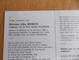 Doodsprentje Alice Demets Oedelem 21/11/1904 Oostende 8/4/1988 ( Camille De Zaeyer ) - Religione & Esoterismo
