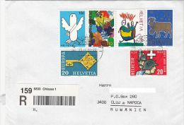 CHILDRENS DRAWINGS, EUROPA CEPT, COW, SOLDIERS, STAMPS ON REGISTERED COVER, 1999, SWITZERLAND - Suisse