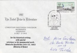 C.M.T. MOMMSEN, NOBEL PRIZE IN LITERATURE, SPECIAL COVER,  2002, ROMANIA - Prix Nobel