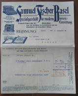 FATTURA SAMUEL FISCHER BASEL SPECIALGESCHAFT FUR MODERNE BUREAU EINRICHTUNG ANNO 1909 SVIZZERA - Svizzera