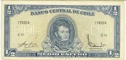 CILE - CHILE -  1/2 Escudo (1962-75) - QUALITA' BB - PIEGA AL CENTRO - Cile