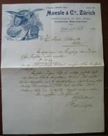 FATTURA  MOESLE & C. INSTALLATIONSMATERIAL FUR ELECTR. ANLAGEN TECHNISCHE BEDARFSARTIKEL ZURICH SVIZZERA ANNO 1898 - Svizzera