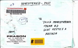 Auslands - Rekobrief Von Mumbai Mit 88 Rupien Mischfrankatur 2013 - Briefe U. Dokumente