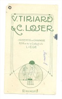 Buvard Avec Oeillet - V Tiriard & C. Loser  Agents De Change à LIEGE - Buvards, Protège-cahiers Illustrés