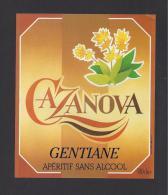 Etiquette De Gentiane  Sans Alcool  -  Cazanova - Etiquettes