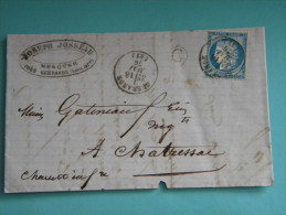 LETTRE De MESQUER Avec 25 CENTIMES CERES + TAMPON GUERANDE Du 18 MAI 76 + TAMPON C + TAMPON ETAULES. - Postmark Collection (Covers)