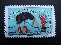 FRANCE OBLITERE 2013 N° 800 PRATIQUER LA POLITIQUE DE L´AUTRUCHE SERIE CARNET SOURIRES SAUTER DU COQ A L´ANE - France