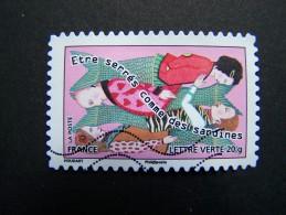 FRANCE OBLITERE 2013 N° 790 ETRE SERRES COMME DES SARDINES SERIE CARNET SOURIRES SAUTER DU COQ A L´ANE - France