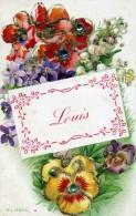 LOUIS - Carte Avec Fleurs Et Brillants , Cartes : D'une Femme Et D'un Homme - Le Lot De 3 Cartes - Prénoms