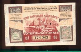 Billet De La Loterie Nationale De 1941  -  Les Gueules Cassées   -  22 ème  Tranche  -  Sans Talon - Billets De Loterie