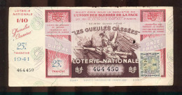 Billet De La Loterie Nationale De 1941  -  Les Gueules Cassées   -  23 ème  Tranche  -  Avec Talon - Lottery Tickets