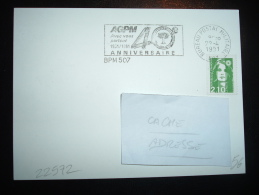 CARTE TP MARIANNE DE BRIAT 2,10F OBL.MEC. 22-4-1991 BPM 507 AGPM 40e ANNIVERSAIRE AVEC VOUS PARTOUT 1951/1991 - Marcophilie (Lettres)