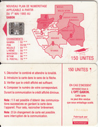 GABON - Red Map, Third Chip Issue 150 Units(reverse B-with Moreno Logo), Chip SC7, CN : C35141528, Used - Gabon