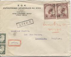 Lettre Com.Avion Costermansville En 1938 V.Bruxelles PR662 - Congo Belge