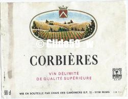 Etiquette De Vin - Corbières - Vin Délimité De Qualité Supérieure - 98 Cl - Chais Des Cardinniers - 51100 REIMS - Etiquettes