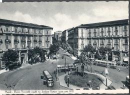 1954 NAPOLI PIAZZA VANVITELLI ANGOLO VIA SCARLATTI VOMERO FG V SEE 2 SCANS ANIMATA AUTOBUS TARGHETTA - Napoli