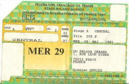 Roland Garros 1991 Ticket Entrée FFT Central Mercredi 29 Mai - Tickets D'entrée