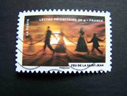 FRANCE OBLITERE 2012 N° 756   FEU DE LA SAINT JEAN FETE DU TIMBRE: LE FEU SERIE DU CARNET AUTOCOLLANT ADHESIF - France