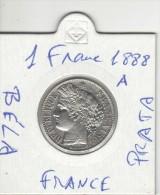 1 Franc 1888-A  France Prata Moeda Béla UNC Acet Paypal - Frankrijk