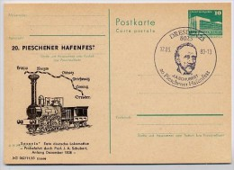 DDR P84-24-83 C31 Postkarte Zudruck LOKOMOTIVE SAXONIA 1838 Dresden Sost. Johann Schubert 1983 - Private Postcards - Used