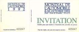 Mondial De L´Automobile Octobre 1992 Invitation - Voitures (Courses)