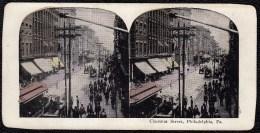 RARE !! SUPERBE VUE STEREOSCOPIQUE PHILADELPHIA 1875 * CHESTNUT STREET * SUPERB ANIMATION ! - Philadelphia