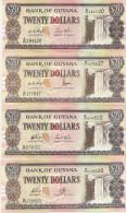 GUYANA 20 Dollars UNC 1996-2002-2006-2008 - Guyana