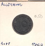 Allemagne  10 Pf 1942 D - [ 4] 1933-1945 : Third Reich