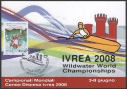 CANOEING / KAYAK - ITALIA IVREA 2008 - WILDWATER WORLD CHAMPIONSHIPS - ANNULLO 8.6.2008 - CARTOLINA UFFICIALE - Kano