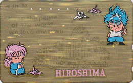 Télécarte Dorée Japon - HIROSHIMA PAIX ORIGAMI - PEACE Japan GOLD Phonecard - Friede Telefonkarte - 107 - Jeux