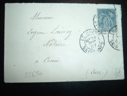 LETTRE TP SAGE 15C OBL. DAGUIN 21 NOV 87 LE HAVRE SEINE-INFRE (76) - Postmark Collection (Covers)