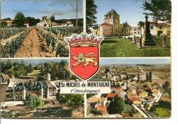 24230 ST-MICHEL-DE-MONTAIGNE - 4 Vues Photographie Véritable - Blason - Postée En 1960 - Autres Communes
