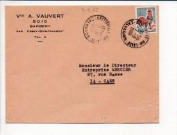 1966 - Cachet à Date Manuel Recette De Bretteville Sur Laize Sur Coq De Décaris, Entète Vve A. Vauvert Bois à Barbery - 1961-....
