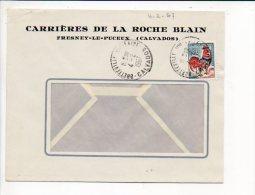 1967 - Cachet à Date Manuel Recette De Bretteville Sur Laize Sur Coq De Décaris, Entète Carrières Fresney Le Puceux - 1961-....