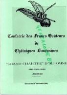 87 - LANDOUGE- MENU FRANCS GOUTEURS CHATAIGNES-  SALLE DES FETES -15-11-1992-LAZYRAS-BIZAC-CHALUS-SAINT YRIEIX - Menus