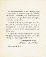 Guerre 14-18 - Affiche - Appel au calme suite coup de feu tir� du Bourgmestre de SPA  Baron Joseph de CRAWHEZ