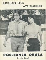 Film, Movie, Cinema Program - ON THE BEACH - Gregory Peck, Ava Gardner OLD EX YU MOVIE PROGRAM - Programma's