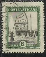 VATICANO VATICAN VATIKAN 1933 GIARDINI E MEDAGLIONI CENT. 12,50 (12 1/2) TIMBRATA USED OBLITERE - Vaticano