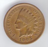 U.S.A. - STATI UNITI D' AMERICA - ONE CENT ( 1905 ) - INDIAN HEAD - 1859-1909: Indian Head