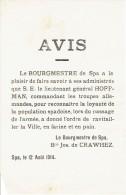 Guerre 14-18 - Affichette - Bourgmestre de SPA  Baron Jos. de CRAWHEZ : ravitaillement de la ville en farine & en pain