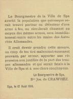 Guerre 14-18 - Affichette - Bourgmestre de SPA  Baron Jos. de CRAWHEZ : interdiction du port d�arme � feu