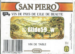 Etiquette De Vin - San Piero - Vin De Table De Pays De L'Île De Beauté - 99 Cl - COOP De Champagne - CHÂTEAU-THIERRY - Etichette