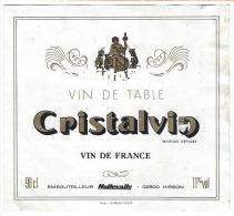 Etiquette De Vin - Cristalvin - Vin De Table - Vin De France - 98 Cl - 11% Vol - Nollevalle - 02500 HIRSON - Rode Wijn