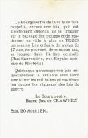 Guerre 14-18 - Affichette -SPA 20 ao�t 1914 : interdiction de stationner en ville � plus de 3 personnes
