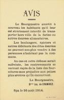 Guerre 14-18 - Affichette - SPA 26 ao�t 1914 : avis du Bourgmestre : interdiction de transporter hors ville de la farine